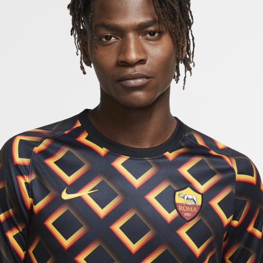 maillot avant match as roma noir orange 2020 21 2