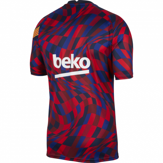 maillot avant match fc barcelone rouge bleu 2020 21 1