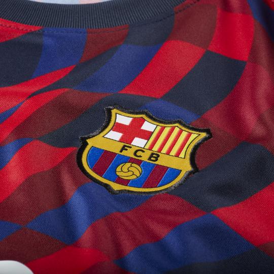 maillot avant match fc barcelone rouge bleu 2020 21 2