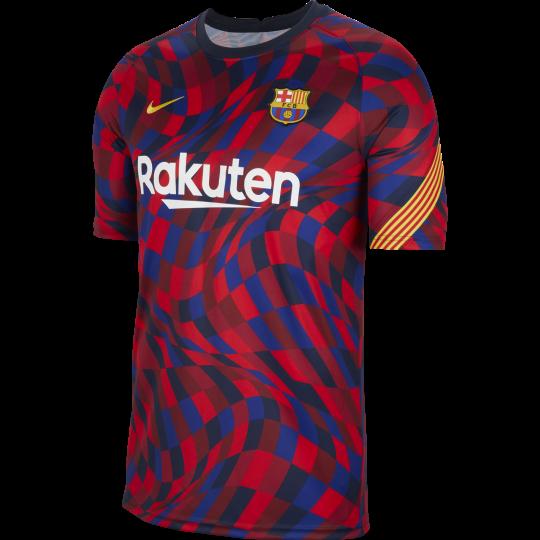maillot avant match fc barcelone rouge bleu 2020 21
